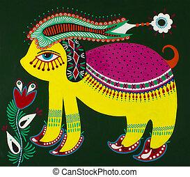 Ukrainian traditional fine art. Decorative fantasy animal. ...