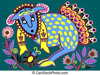 ukrainian tribal ethnic painting, unusual animal, folk illustration
