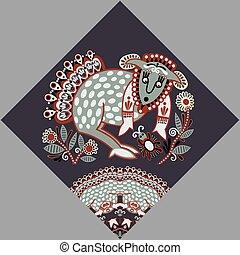 ukrainian tribal ethnic painting, unusual animal