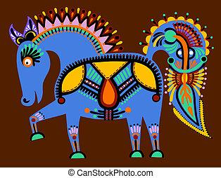 ukrainian tribal ethnic painting, unusual horse, folk illustration