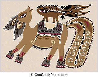 ukrainian tribal ethnic painting, unusual horse