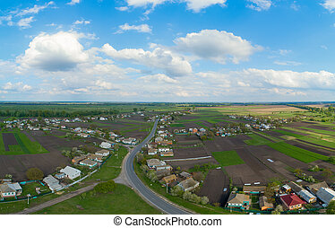 Ukrainian village aerial view in spring.