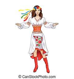 ukrainien, accueil, main, déguisement, girl, vêtements