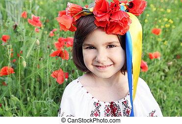 ukrainien, couronne, drapeau, couleurs, girl, rubans