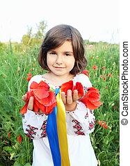 ukrainien, couronne, drapeau, couleurs, tenue, girl, rubans