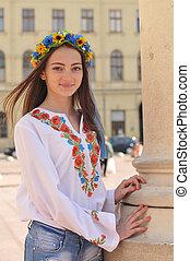 ukrainien, girl, joli, lviv, rue