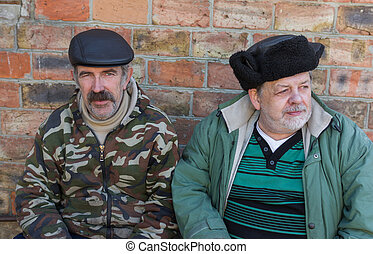 ukrainien, paysan, personnes agées, portrait, deux
