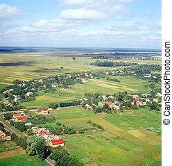 ukrainien, village, -, aérien, vue.