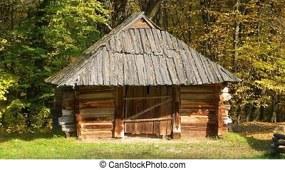 ukrainien, village, hangar, agricole, rural, stockage