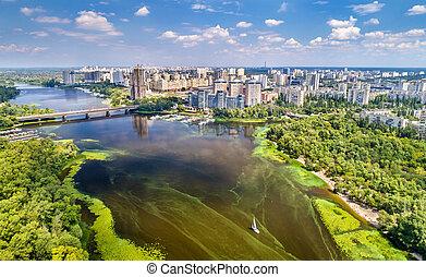 ukrajna, dnieper, antenna, kyiv, folyó, kilátás