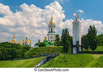 ukrajna, emlékmű, kiev, ortodox, kolostor, ussr., lavra, ...