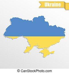 ukrajna, térkép, belső, lobogó, szalag