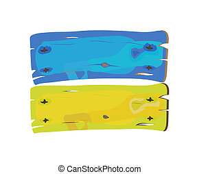 Ukranian flag painted on wood