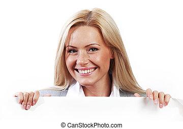 ukryty, papier, za, kobieta