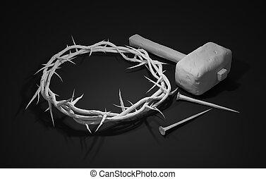 ukrzyżowanie jezusowy chrystus, -, krzyż, z, młot, paznokcie, i, korona cierniowa, 3d, przedstawienie, ciemne tło