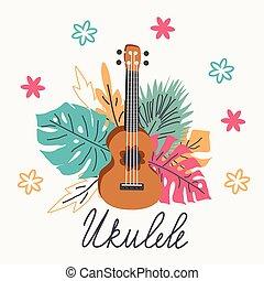 Ukulele and tropical leafs. hand drawn illustration - ...