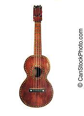 antique ukulele with decorative inlay