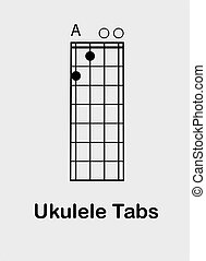 Ukulele chords E - Ukulele tabulator with E chord, vector ...