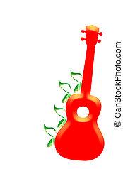 ukulele, cubrir, rojo