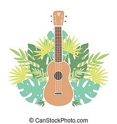 ukulele, e, tropicais, leafs.