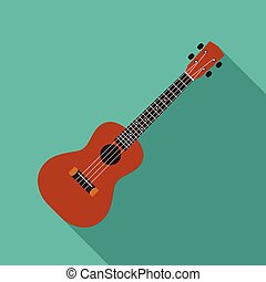 Ukulele flat design vector illustration on green background
