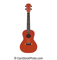 Ukulele flat design vector illustration on white background