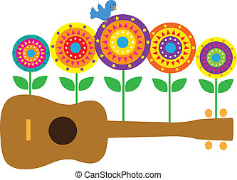 A horizontal image of a brown ukulele, with stylized flowers and a blue bird springing up from the ukulele.