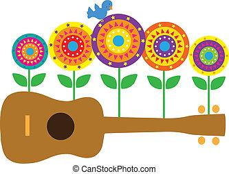 Ukulele Flowers - A horizontal image of a brown ukulele, ...