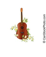 Ukulele guitar in color with plumeria flowers