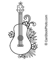 Ukulele guitar outline with Hawaiian flowers