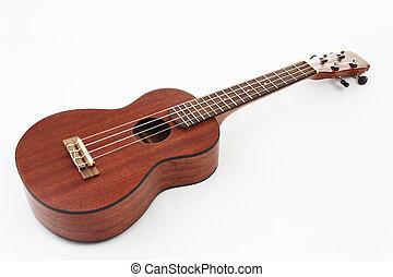 Ukulele hawaiian guitar on white background