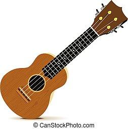 Ukulele - Hawaiian musical instrument. Vector illustration on white