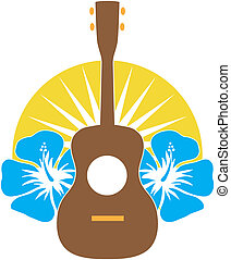 A stylized ukulele, sitting on a background of Hibiscus flowers over a sunburst semi-circle.