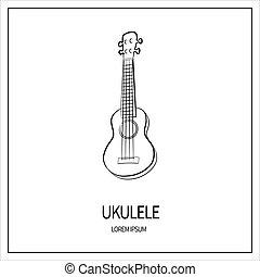 ukulele isolated icon - Ukulele guitar, stringed and plucked...