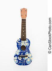 ukulele, met, blauwe , flowers.