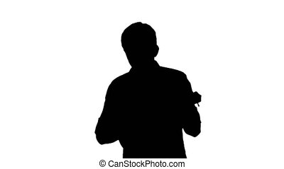 ukulele, silhouette, quoique, homme, jouer, jeune, marche.