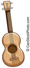 Ukulele - Single wooden ukulele with strings on