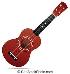 Ukulele - The brown ukulele isolated on white background