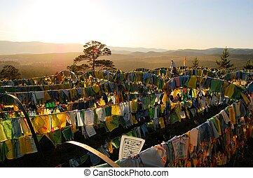 ulan, ivolginsky, ude, datsan, prière, drapeaux, temple, russie