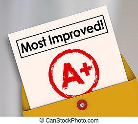 ulepszony, stopień, lepszy, najbardziej, wzrost, zameldować...