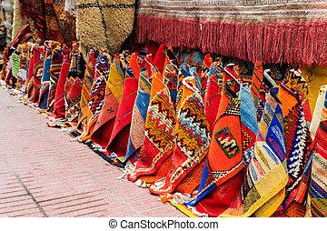 ulica, barwny, marrakech, safian, medyna, dywany
