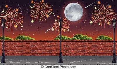 ulica, celebrowanie, fajerwerki, scena, prospekt