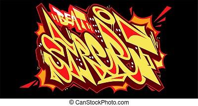 ulica, chrzcielnica, styl, tytuł, sztuka graffiti, wektor, ilustracja, słowo