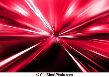 ulica, czerwony, noc