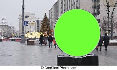 ulica, ekran, wielki, year., zielony, tablica ogłoszeń, nowy, ozdobny, installed, okrągły