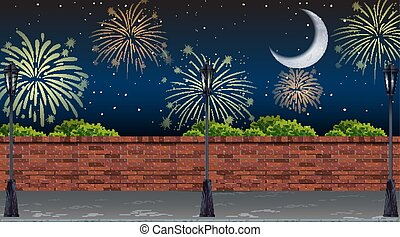 ulica, fajerwerki, celebrowanie, prospekt, scena