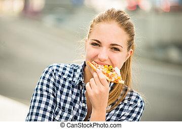 ulica, jedzenie, nastolatek, pizza
