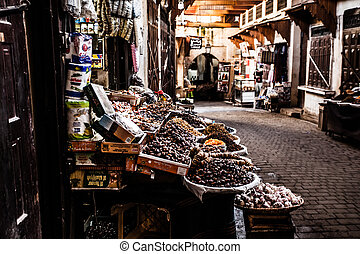 ulica, morocco., town)., medyna, fez, (old, mały