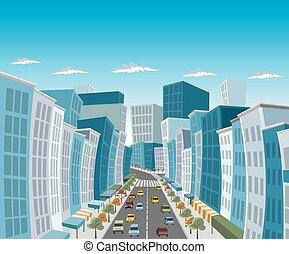 ulica, od, śródmieście, miasto