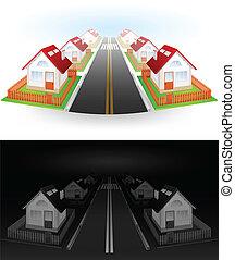 ulica, od, domy